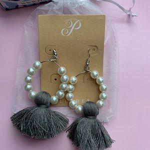 Pear Hoop Earrings w/ Gray Fringe 😍